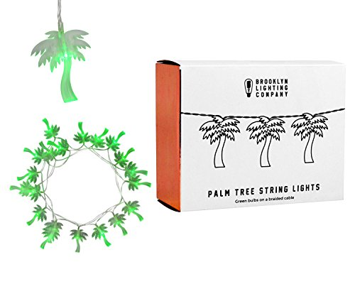 Brooklyn Lighting Company - 20 LED Palm Tree String Lights, Battery Operated String Lights, Party Decor Supplies for Indoor, 8 Feet Long
