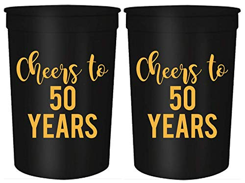 Cheers to 50 Years, 50th Birthday Party Cups, Set of 12, 16oz Black and Gold Stadium 50th Birthday Cups, Perfect for Birthday Parties, Birthday Decorations (50 Years) ()
