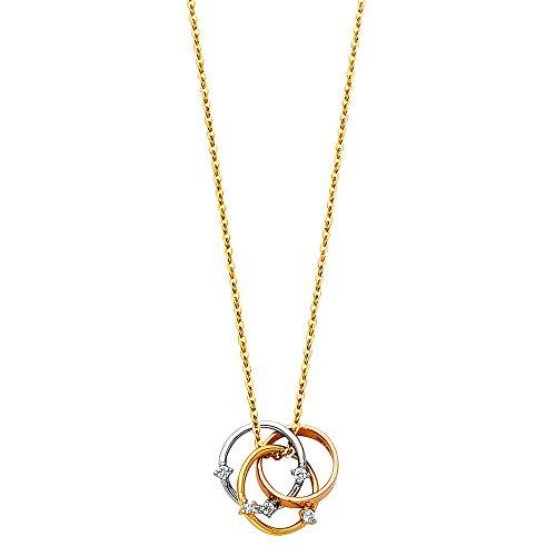 Ioka - 14K Tri Color Gold Trinity Interlocking 3 Circle Infinity Rings with Cubic Zirconia CZ Necklace - 17+1