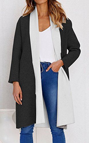 Jacket Solid Loose Trench Women Lapel Color Open White Black Front Outwear Block Coat Leezeshaw Pwq5g0Wnq