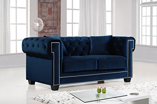 Meridian Furniture 614Navy-L Bowery Button Tufted Velvet Upholstered Loveseat with Square Arms, Nailhead Trim, and Custom Chrome Legs, Navy