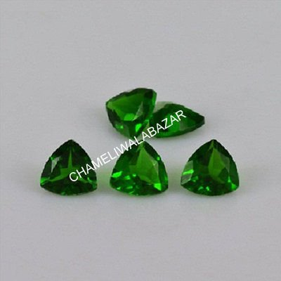 3mm 100% Natural Chrome Diopside Faceted Cut Trillion Green Color Loose Gemstone Beautiful Chrome Diopside 2 Pieces Lot Loose Gemstone