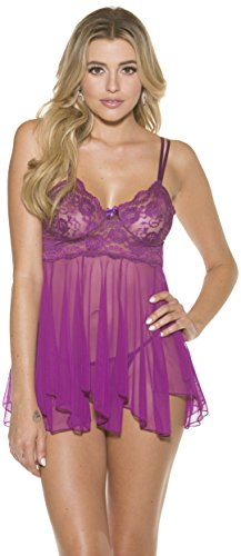 Shirley of Hollywood Lace Babydoll Set, M, Orchid