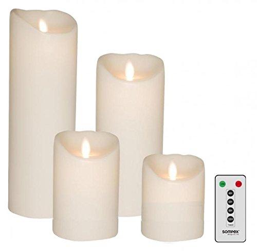 Sompex 4er Set Flame LED Echtwachskerzen weiß 10/12,5/18/23cm mit Fernbedienung