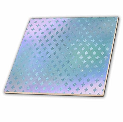 3dRose Anne Marie Baugh - Patterns - Pretty Blue Faux Printed Foil Diamond Points Pattern - 6 Inch Glass Tile (ct_283373_6)