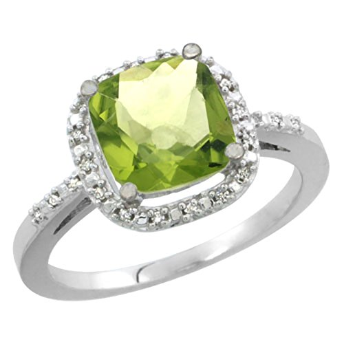 Silver City Jewelry 10K White Gold Natural Peridot Ring Cushion-Cut 8x8mm Diamond Accent, Sizes 5-10