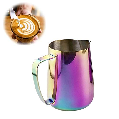 Milk Jug 0.3-0.6L Stainless Steel Frothing Pitcher Pull Flower Cup Coffee Milk Frother Latte Art Milk Foam Tool Coffeware, Capacity:350ml Premium Material (Color : Colorful) by SHIFENX