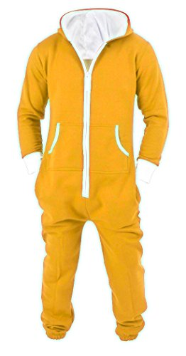 SKYLINEWEARS Men's Unisex Onesie Jumpsuit One Piece Non Footed Pajama Playsuit X-Large Yellow ()