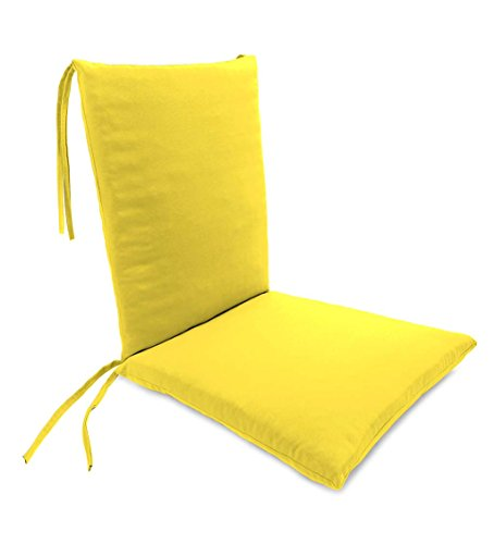 Plow & Hearth Classic Polyester Outdoor Rocking Chair Cushion with Ties, Seat Cushion 21''W Front/17''W Back x 19''D; Back Cushion 16''W x 20''L - Daffodil