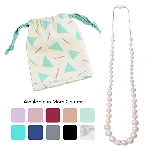 Goobie Baby Audrey Silicone Teething Necklace for Mom to Wear, 100% Safe Silicone (Teething Necklace, Pearl)