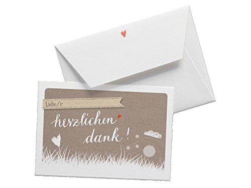 Danksagungskarte herzlichen dank im Wolke 7 Stil, Dankeskarte in BEIGE für deine Hochzeit, Geburtstag, Jubiläum auf Büttenpapier mit Umschlag