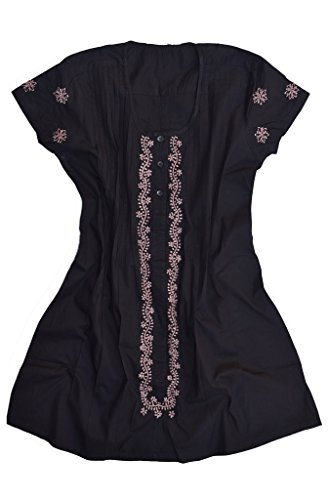Ayurvastram Pure Cotton Hand Embroidered Long Placket Dress, Tunic, Kurti, Top, Swim Suit Cover