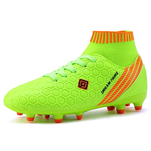 DREAM PAIRS Boys Girls HZ19007K Soccer Shoes Football Cleats Neon Green White Size 13 M US Little Kid (Soccer And Green White Cleats)
