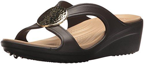 Crocs Women's Sanrah Hammered Circle Wedge Sandal, Espresso/Gold 9 M ()