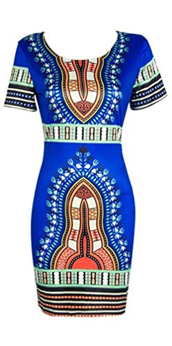 FORUU Mini Dresses for Womens,2019 Summer Newest Arrival Ladies Traditional African Print Dashiki Bodycon Sexy Short Sleeve Best Gift for Brithday Mother Lover Daughter Girls Teen