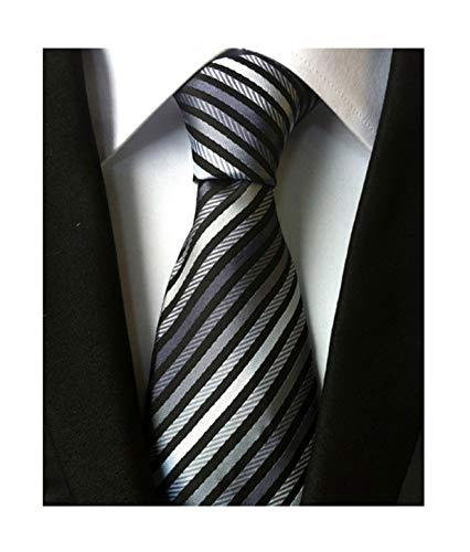 Secdtie Men's Narrow Stripe Pattern Tie Grey Black White Business Necktie TW07