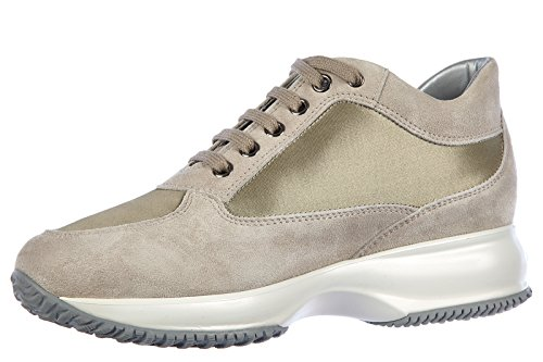 Hogan chaussures baskets sneakers femme en daim interactive h spigata lurex beig