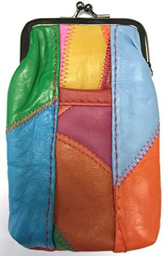 Lambskin Patched Leather - Eclipse Unique Multi Color Patched Lamb Skin Cigarette Case Pouch, 100s, 3202S