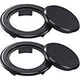 Bememo 2 Inch Patio Table Umbrella Hole Ring and Cap Set, Standard Size Umbrella Thicker Hole Ring Plug and Cap Set (Black, 2 Set)