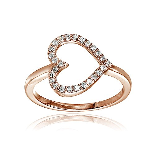 Gold Open Heart Ring (Rose Gold Flashed Sterling Silver Cubic Zirconia Sideway Heart Ring, Size 9)