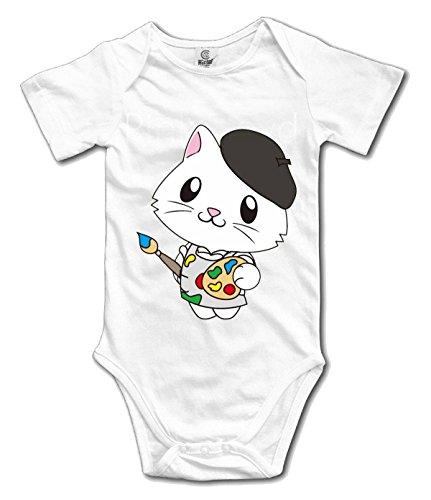 HappyAnimal Cartoon Cute Painter Cat Infant Jumpsuit Bodysuit white 18 mouth