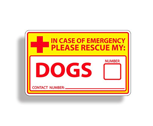 - Safety Yellow Dog Rescue Safety Sticker 911 Pet K9 Alert Window Door Decal Graphic