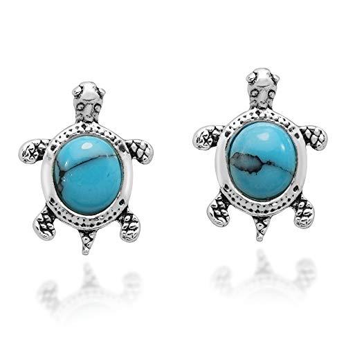Silver Sea Turtle Earrings - Cute Little Sterling Silver Turtle Simulated Turquoise .925 Sterling Silver Stud Earrings