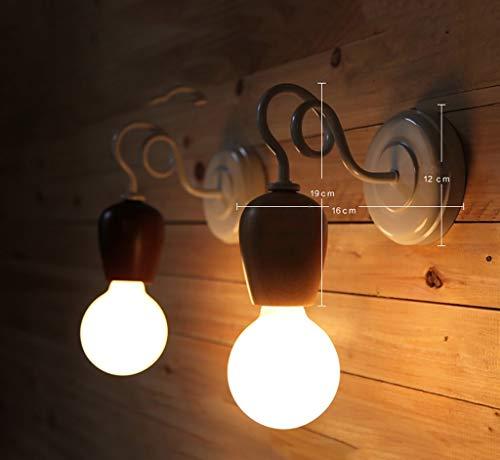 YANG Aplique Vintage/Nordic Bedside Lámpara de Pared Dormitorio Madera Retro Lámpara de Pared,3#