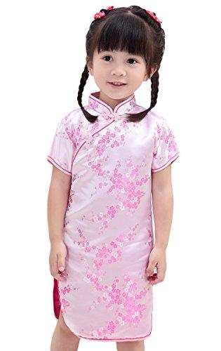 AvaCostume Girls Traditional Chinese Qipao Cheongsam Dress, 7-8, Pinkblossom -