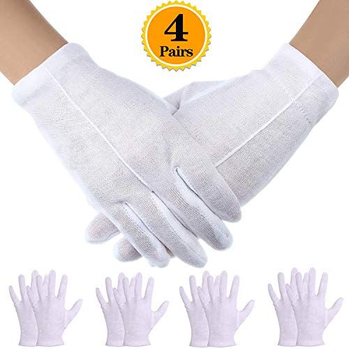 4 Pairs White Child Costume Gloves Formal Kids Size Wrist Gloves Set for Boys and Girls Party Wedding Formal Pageant]()