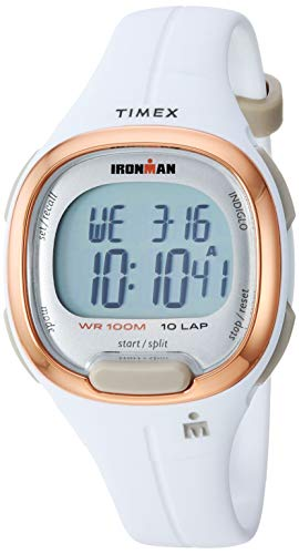 Timex Women's TW5M19900 Ironman Transit Mid-Size White/Rose Gold-Tone Resin Strap - Timer Countdown Digital Watch