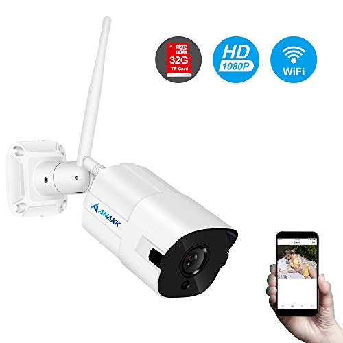 Anakk Wireless WiFi IP Security Camera, HD 1080P Outdoor Wireless WiFi Outdoor Waterproof Bullet Home Surveillance Camera Pre-Installed 32G MicroSD Card with 3.6mm Lens Night - Wifi Sd Camera Card