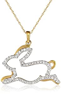 10k Yellow Gold Diamond Bunny Pendant Necklace (1/10 cttw, I-J Color, I2-I3 Clarity), 18""