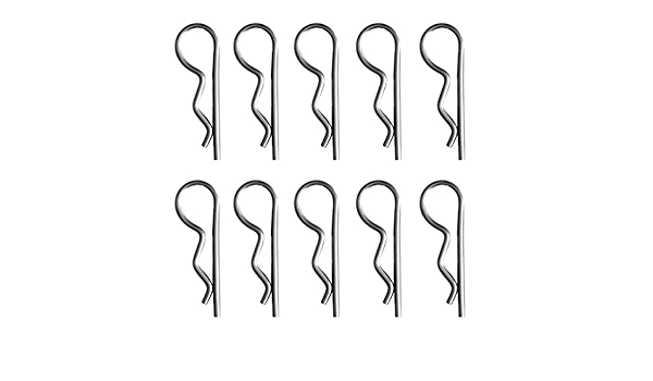 10 Pieces Premium Stainless Steel R Clips Hitch Pin Clip Cotter Pins Retaining Pin 7 Sizes to Choose 1.2x22mm