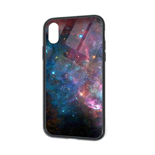 HengZhe iPhone Xs/X Case Galaxy Star Cloud TPU Ultra-Thin Slim Soft Silicone Cover Tempered Glass Back Cover Anti-Fall Protection 5.8 Inch -