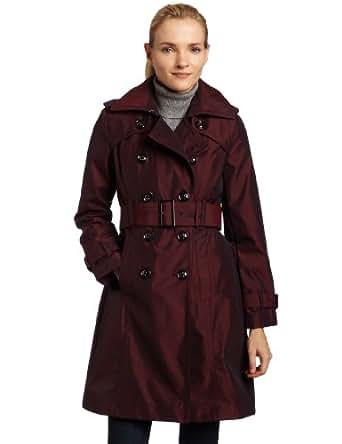 London Fog Womens Petite Irridescent Trench Coat, Red, Medium