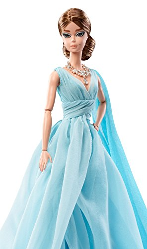 Barbie Fashion Model Collection Blue Chiffon Ball Gown Doll