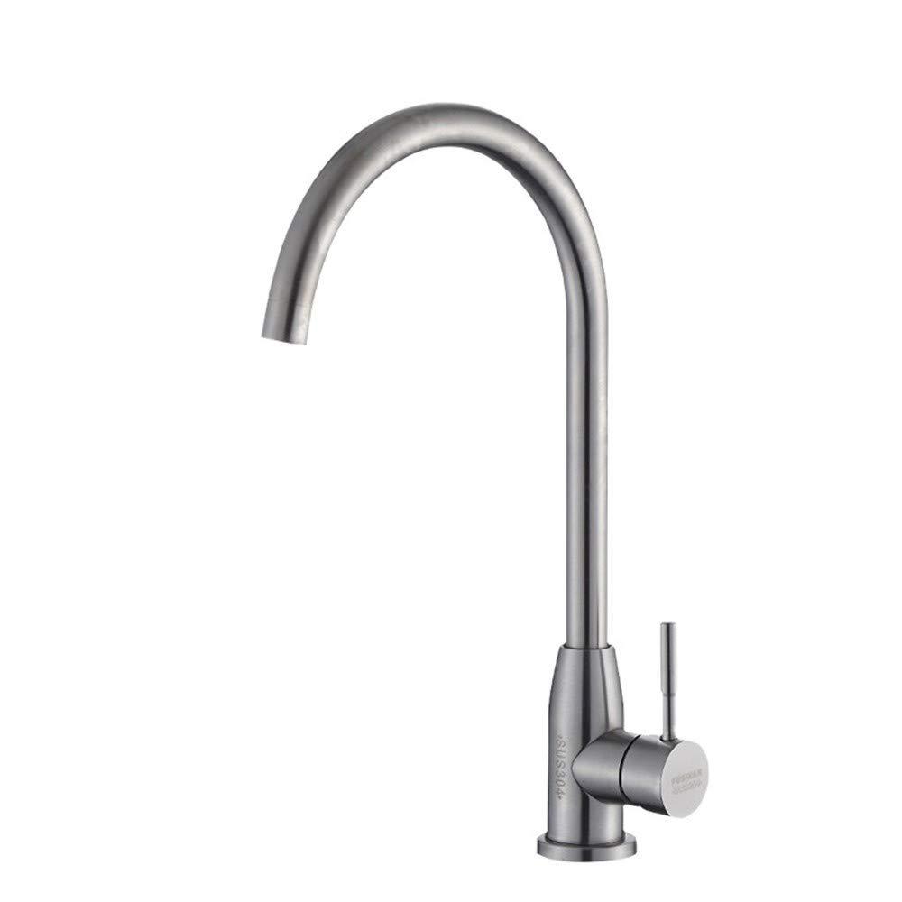 KASDML.CO Wasserhahn 304 Edelstahl Single-Throw- Drahtziehen Nickel- Küchengeschirr Waschbecken Waschbecken Heißes Und Kaltes Mischventil.