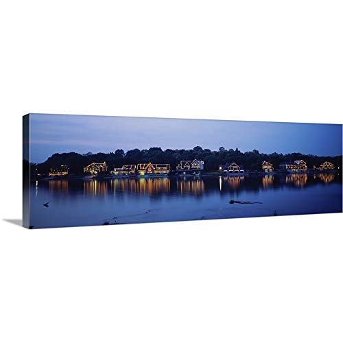 Premium Thick-Wrap Canvas Wall Art Print Entitled Boathouse Row lit up at Dusk, Philadelphia, Pennsylvania 36