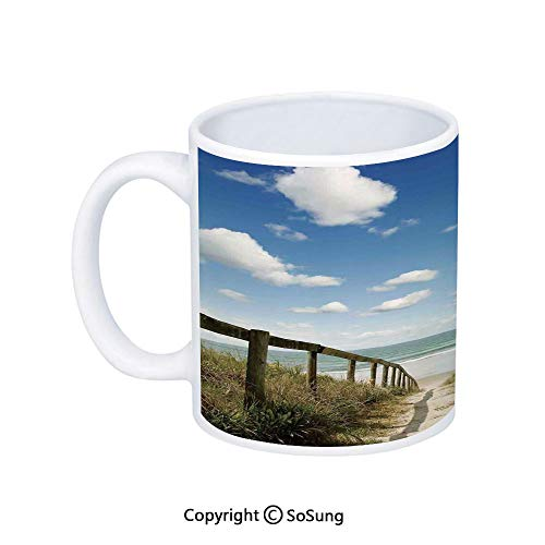 (Beach Coffee Mug,Sandy Path Leads to Ocean Pacific Puffy Clouds Vacation Serene Relaxing Beach,Printed Ceramic Coffee Cup Water Tea Drinks Cup,Cream Blue White)