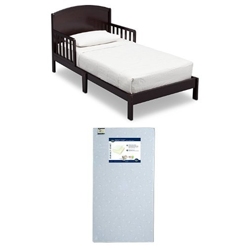 Delta Children Abby Toddler Bed, Dark Chocolate with Serta Perfect Start Crib and Toddler Mattress
