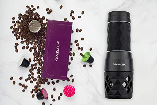 Mixpresso Manual Operated Mini Portable Espresso Maker, (Only works with Capsules - Not for Ground espresso) Compact Travel Coffee Maker ,Compatible with Nespresso Pods, Mini Espresso Machine