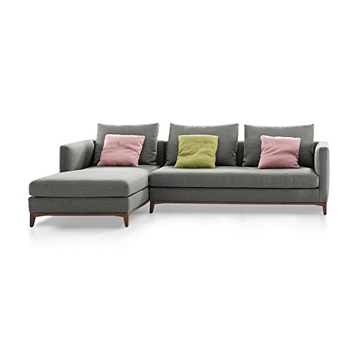 Ucofor LS203 Dark Gray Customized Minimalist Modern Living Room Corner Washable Fabric Sofa and Removable Couches for Small Apartment (2 Seater LHF)