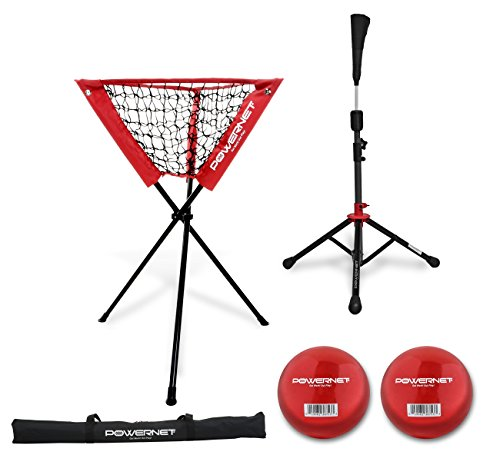 PowerNet Coaches Bundle | Ball Caddy, Tee, 2 Pack Heavy Weighted Training Balls for Baseball Softball by PowerNet