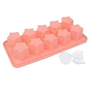 Webake Large 1.2'' Cubes Star Shape 10-Cavity Silicone Ice Cube Tray (Pink, 1 pcs)