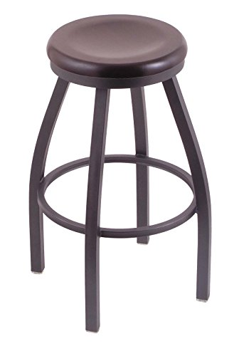 "Holland Bar Stool Co. 802 Misha 36"" Extra Tall Bar Stool with Pewter Finish and Swivel Seat, Dark Cherry Maple"