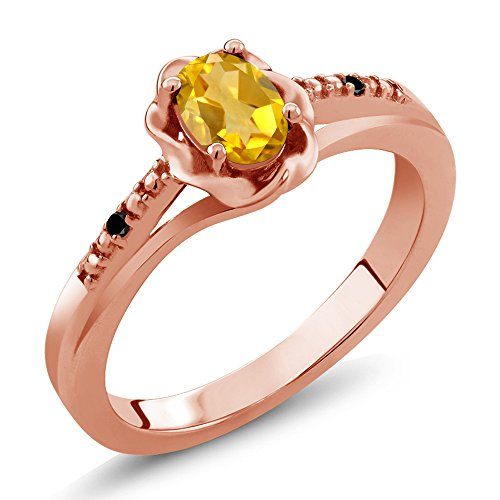 Gem Stone King 0.41 Ct Oval Yellow Citrine Black Diamond 18K Rose Gold Plated Silver Ring (Size 6) ()