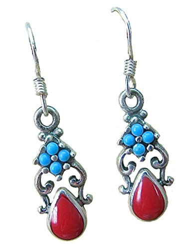 (FaithOwl Turquoise Coral Silver Oxidized 925 Sterling Silver Earrings)