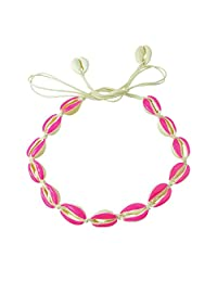 Feelontop® Bohemian Jewelry Rope Braided Natural Shell with Colorful Enamel String Collar Necklace for Women with Jewelry Pouch