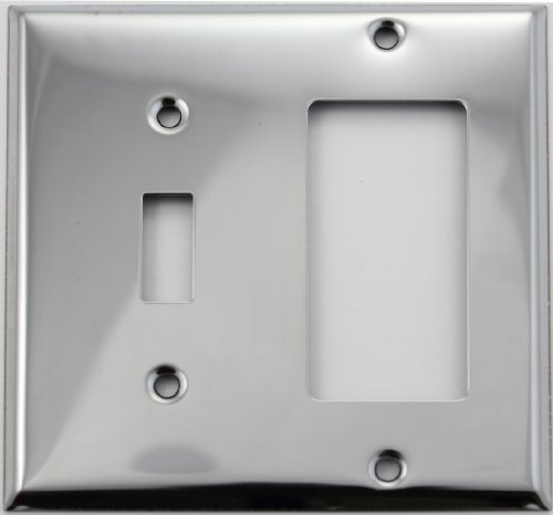 Polished Chrome Two Gang Wall Plate - One Toggle Switch One GFI/Rocker (Chrome Toggle Wall Plate)